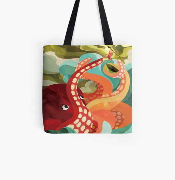 Octopus All Over Print Tote Bag