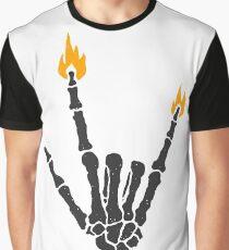 Burning rock skeleton hand Graphic T-Shirt