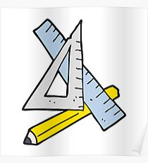 cartoon pencil and ruler Poster