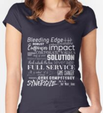 Corporate Buzzwords Business Jargon Typography Art Fitted Scoop T-Shirt