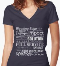 Corporate Buzzwords Business Jargon Typography Art Fitted V-Neck T-Shirt