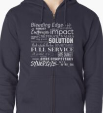 Corporate Buzzwords Business Jargon Typography Art Zipped Hoodie