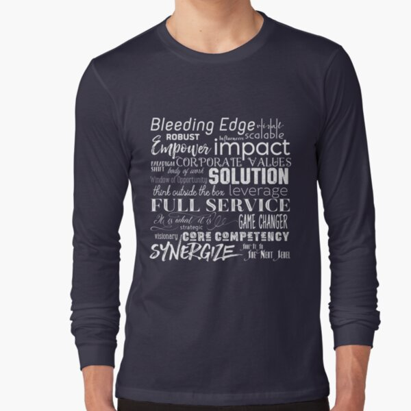 Corporate Buzzwords Business Jargon Typography Art Long Sleeve T-Shirt