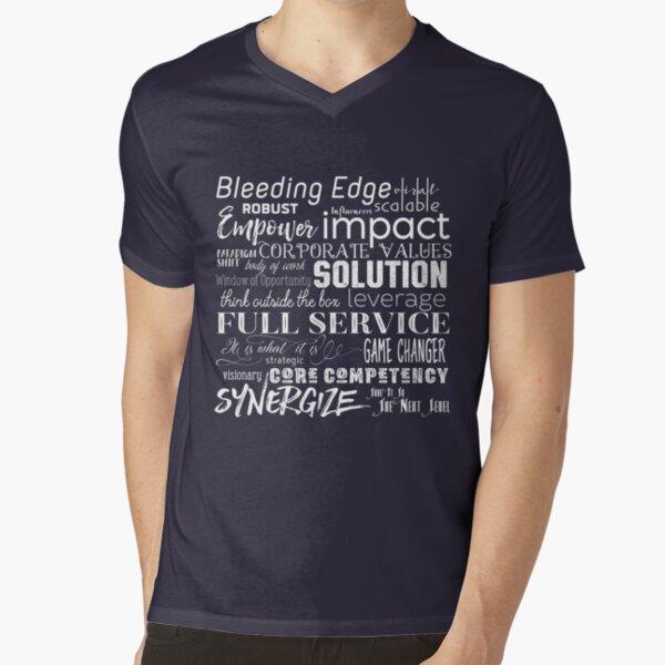 Corporate Buzzwords Business Jargon Typography Art V-Neck T-Shirt