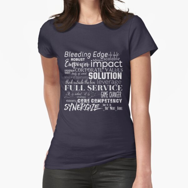 Corporate Buzzwords Business Jargon Typography Art Fitted T-Shirt