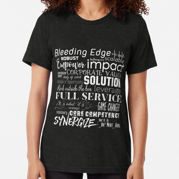Corporate Buzzwords Business Jargon Typography Art Tri-blend T-Shirt