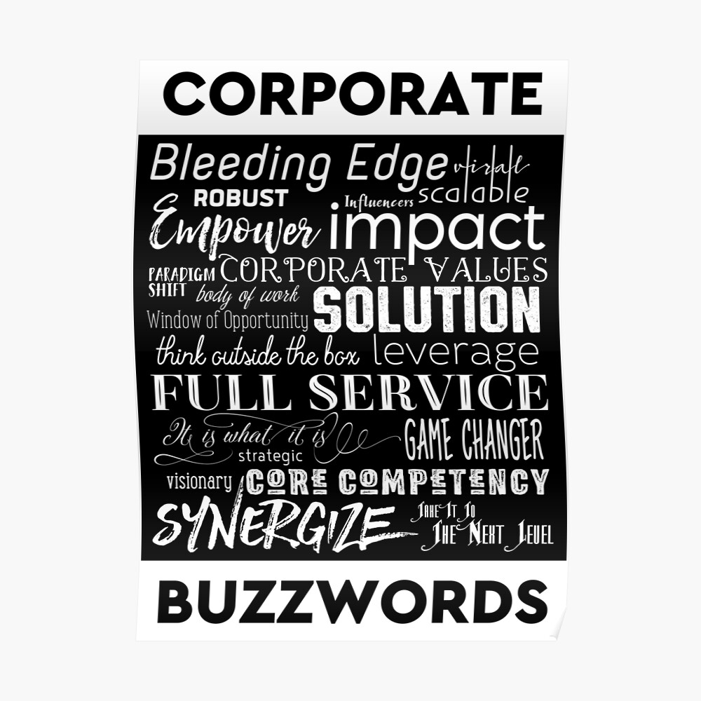 "Corporate Buzzwords Business Jargon Typography Art"" Sticker by  beverlyclaire 