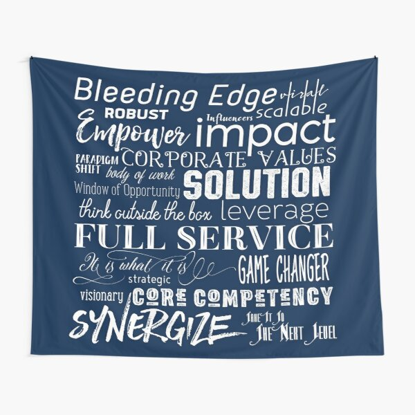 Corporate Buzzwords Business Jargon Typography Art Tapestry