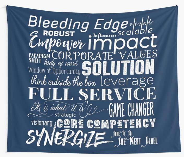 Corporate Buzzwords Business Jargon Typography Art by Beverly Claire Kaiya