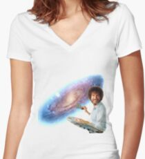 The Bob Ross Galaxy Women's Fitted V-Neck T-Shirt