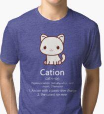 Cute Science Cat T-Shirt Kawaii Cation Chemistry Pawsitive Tri-blend T-Shirt