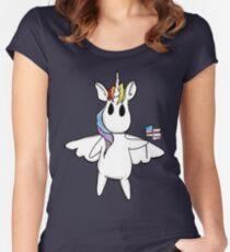 Patriotic Unicorn - Rainbow American Flag / Alicorn / Pegasus Women's Fitted Scoop T-Shirt
