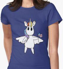 Patriotic Unicorn - Rainbow American Flag / Alicorn / Pegasus Womens Fitted T-Shirt