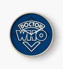Doctor Who Diamond Logo Blue White Lines. Clock