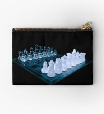 Glass Chess Set on Black Studio Pouch
