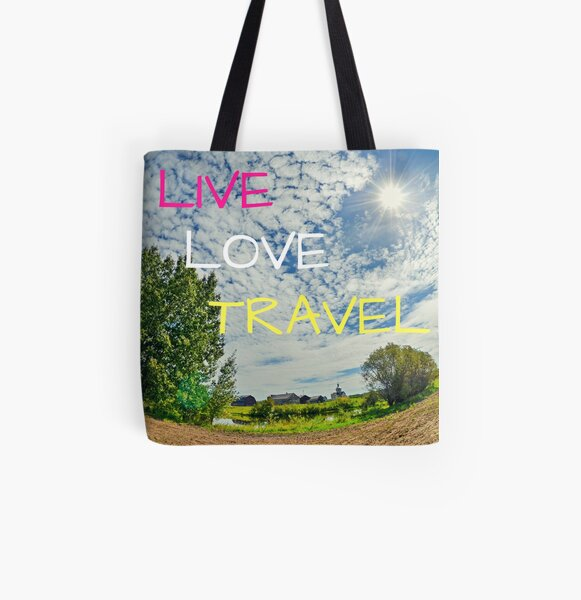 Live Love Travel All Over Print Tote Bag