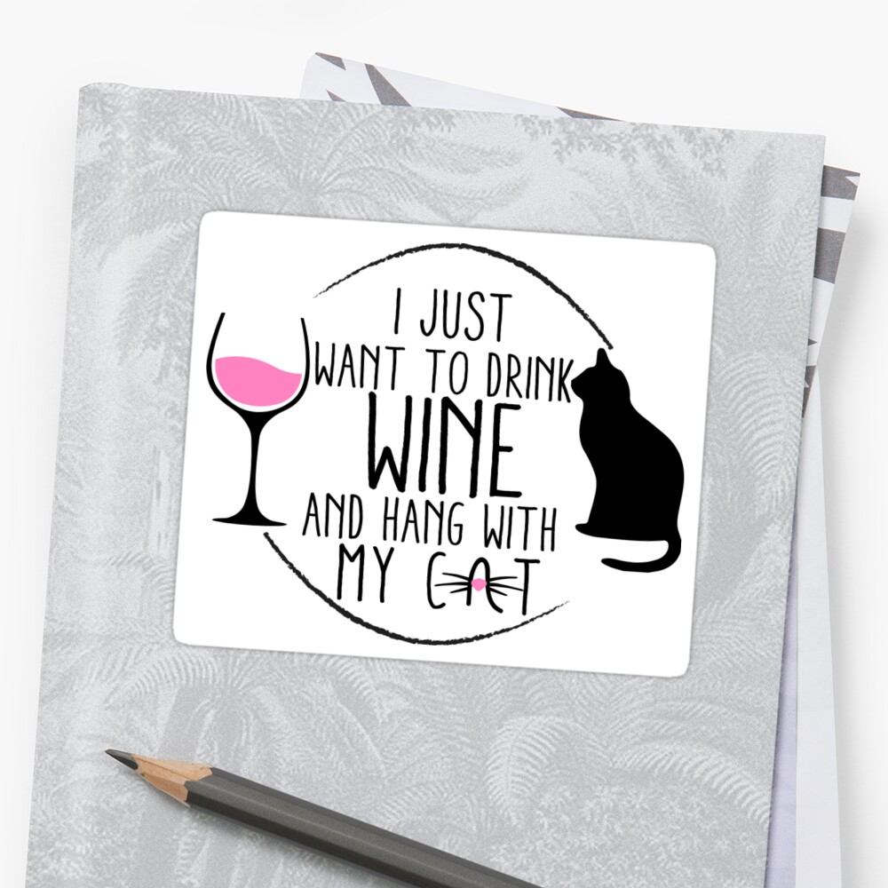 Cat Wine Sticker  by Arianna  Stewart