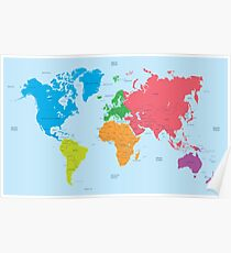 Continents of the World and political Map Poster