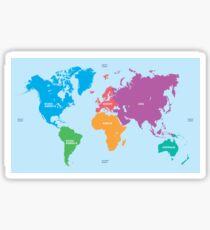 Continents World Map Sticker