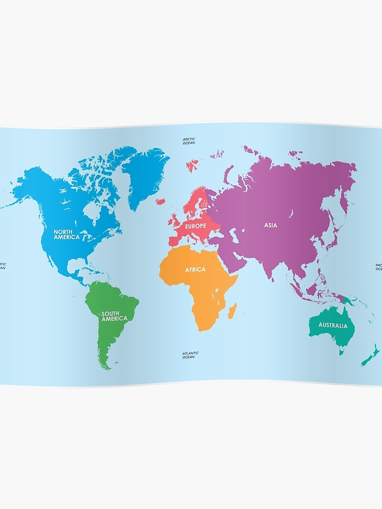 Continents World Map | Poster