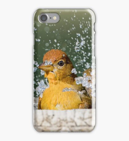 Summer Tanager Making a Splash in November iPhone Case/Skin