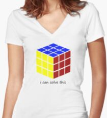 i can solve this 'Rubiks Cube' Women's Fitted V-Neck T-Shirt