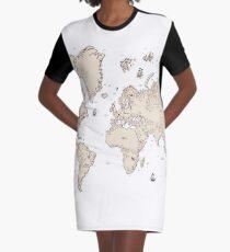 Alte Weltkarte T-Shirt Kleid