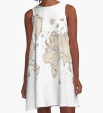 Old world map A-Line Dress