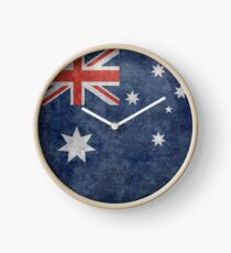 The National flag of Australia, retro textured version (authentic scale 1:2) Clock