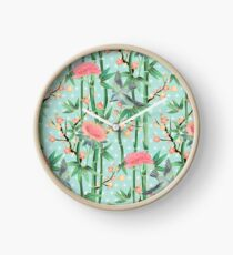 Bamboo, Birds and Blossom - soft blue green Clock