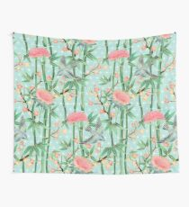 Bamboo, Birds and Blossom - soft blue green Wall Tapestry