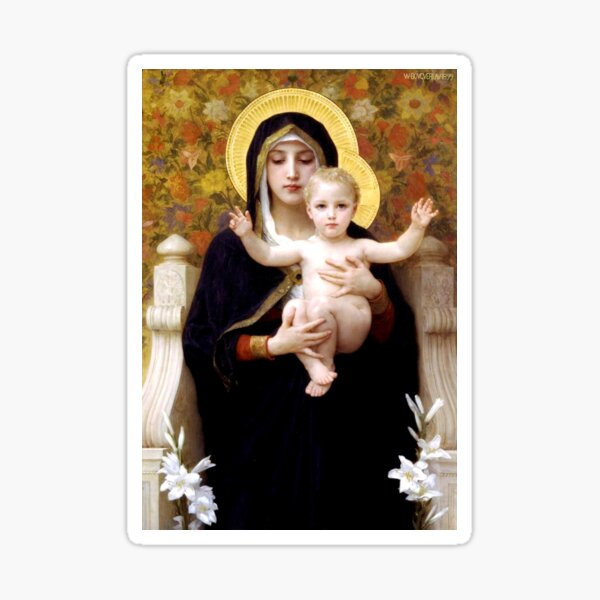 Mother and Child Icon in Gold Sticker