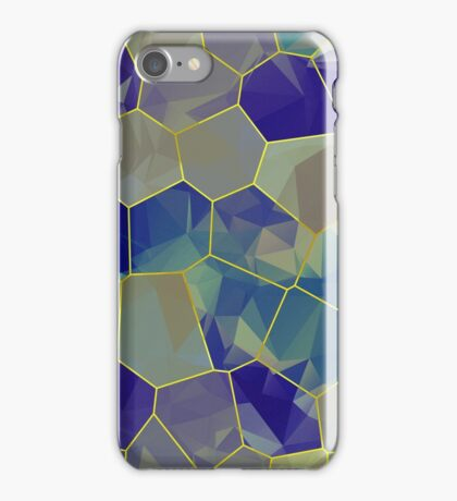 Stained Glass Polygons (Greens & Purples) iPhone Case/Skin