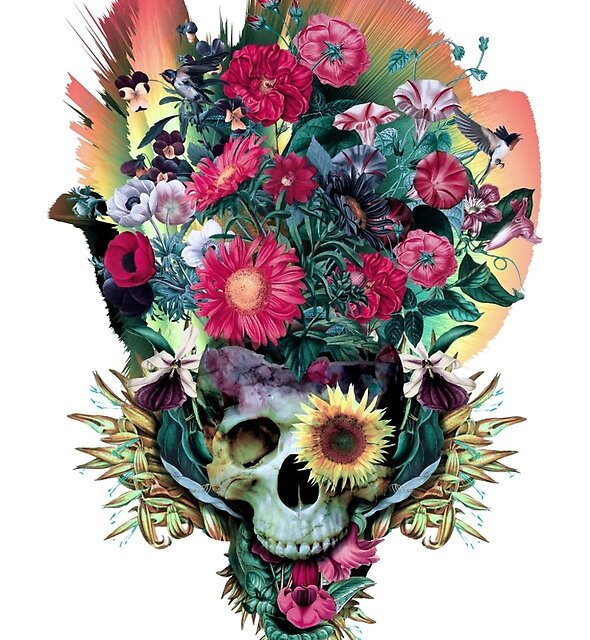 Floral Skull Vivid V by RIZA PEKER