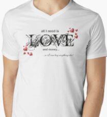 Funny Text & Hearts T-shirt - All I Need Is Love... Mens V-Neck T-Shirt