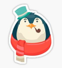 Hipster Penguin Sticker