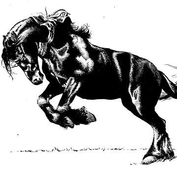 Friesian Stallion in Ink by Tyler-Blake