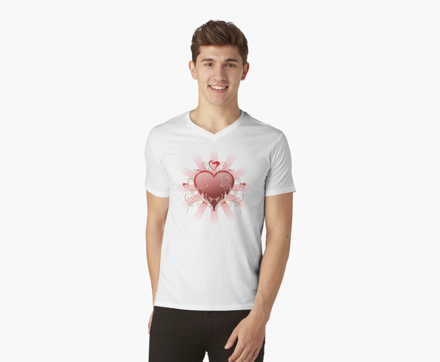 Valentine Love - Big Shiny Heart Gold Scroll T-shirt by ruxique