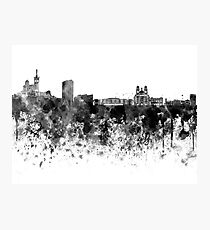 Marseilles skyline in black watercolor Photographic Print
