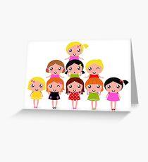 Cute school Kids edition 2016 / vintage girls Greeting Card