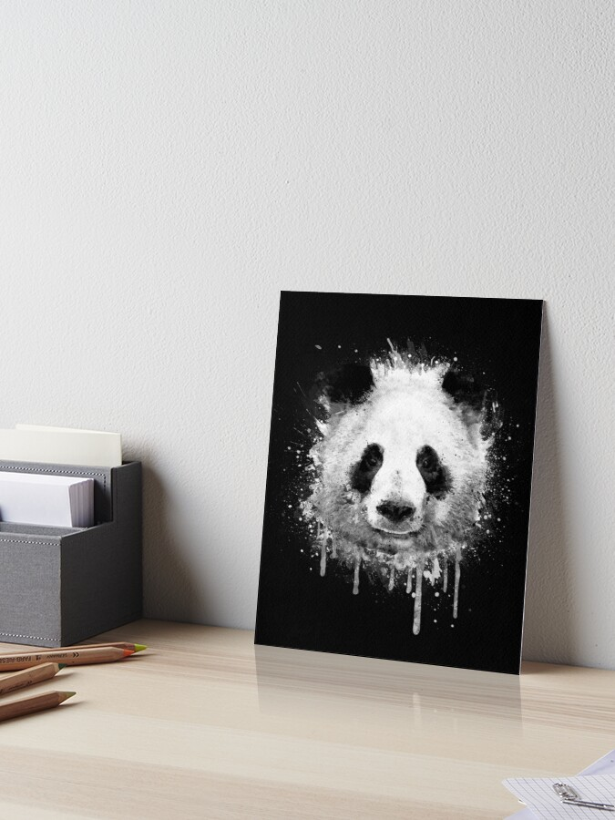Cool Abstract Graffiti Watercolor Panda Portrait In Black White Art Board Print