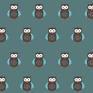 Brown & Blue Owl (Pattern 2) by Adamzworld