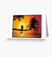 Playful Mermaid Perched on a Palm Tree Greeting Card