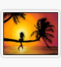 Playful Mermaid Perched on a Palm Tree Sticker