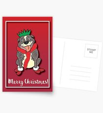 Staffie Cartoon Christmas Card Postcards