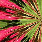 Mandala Art Red and Green Left Side by Rosalie Scanlon