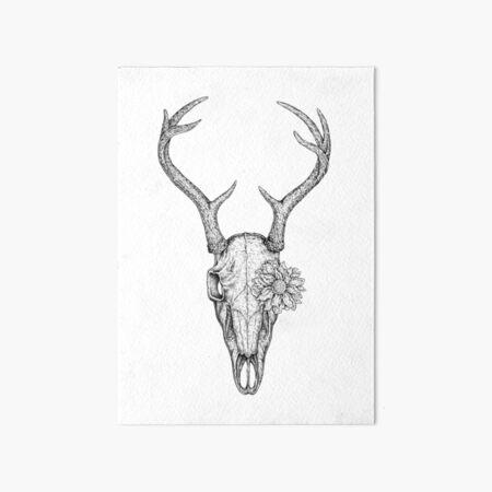 Deer Skull Flower Art Board Print