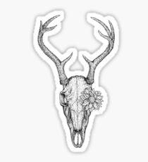 Deer Skull Flower Sticker