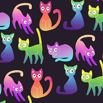 colourful cat print by jlingard