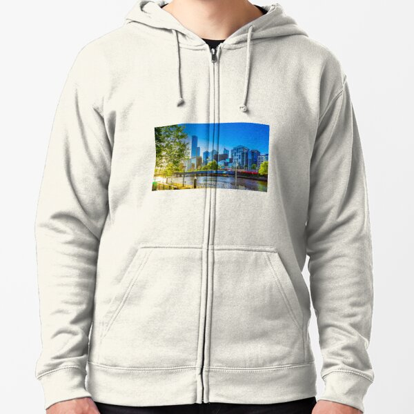 Springtime Sunset on the Yarra - Melbourne, Victoria Zipped Hoodie
